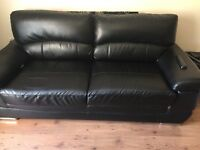 FREE black leather sofas 3 + 2 - showing wear as per pics but structurally sound -collect ASAP