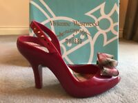 Vivienne Westwood Anglomania Melissa Lady Dragon with Tartan Bow in red size Euro39
