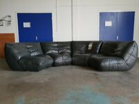 BRAND NEW FABB SOFAS KINK DARK GREY LEATHER CORNER SOFA / SETTEE / WITH LEATHER CARE KIT CAN DELIVER