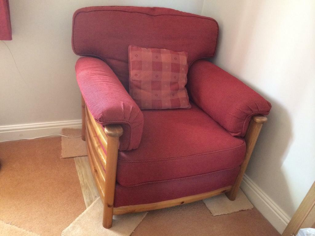 Ducal Sofa And Chair For Sale Excellent Condition Wooden