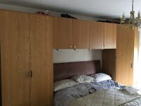 TWO IKEA PAX WARDROBES AND FOUR WALL UNITS PLUS INTEGRATED DOWNLIGHTS
