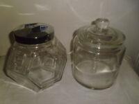 2 LARGE GLASS STORAGE JARS
