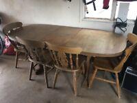 Oak Table & chairs & dresser