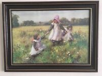 Picking Wild Flowers by William Affleck | Circa 1890 | Beautiful Framed Picture | 48cm x 35cm |