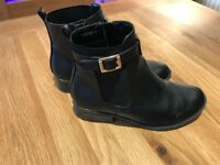 New Look Black Leather Boots Size 3