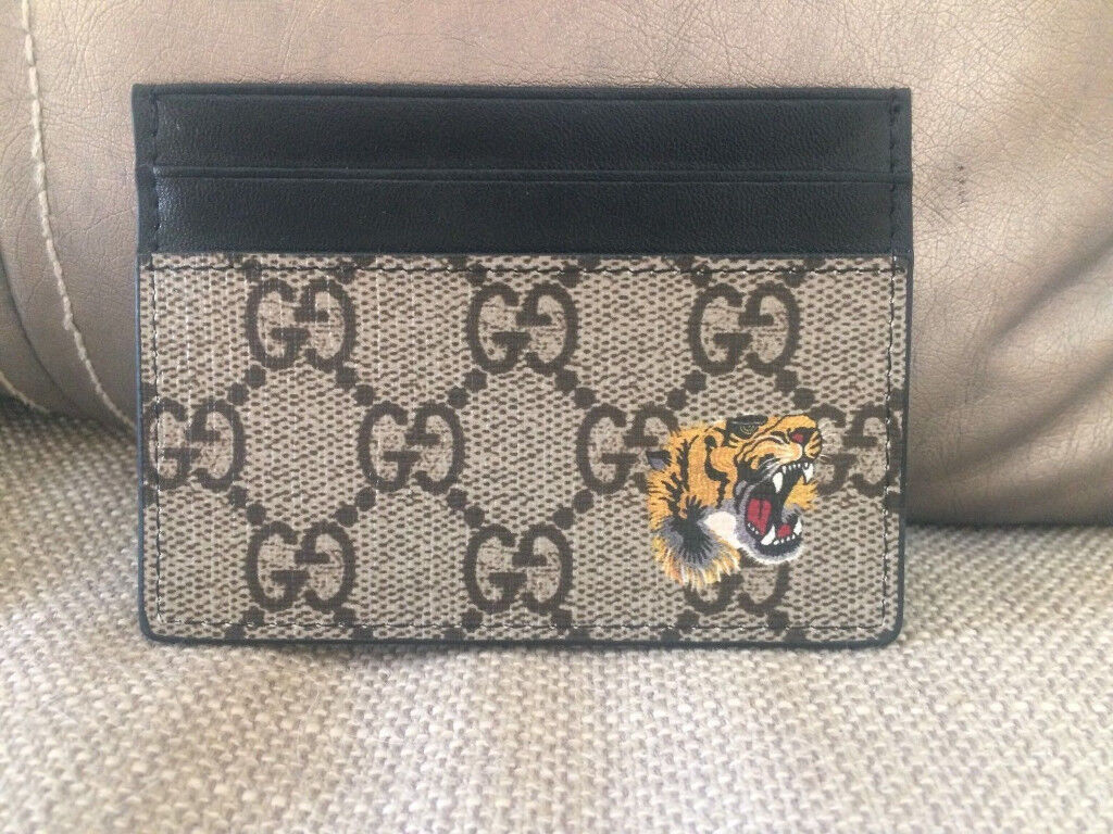 Gucci Supreme Card Holder Case with Black Leather - Tiger Print | in ...