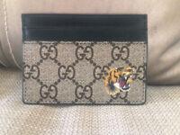 Gucci Supreme Card Holder Case with Black Leather - Tiger Print