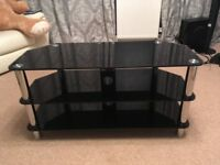 Black glass TV stand 41""