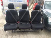 Van Rear Triple Seats Bench Adjustable Seat Belts Vivaro Sprinter Transit Camper