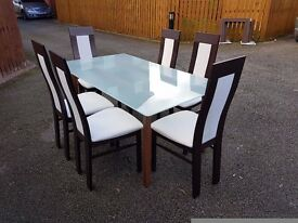 Ikea Frosted Glass & Solid Wood Table & 6 Designer Effezetta Chairs FREE DELIVERY 0547