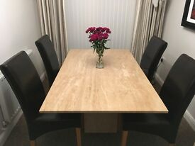 Beautiful Solid Marble Table & Four Leather Chairs from Downtown
