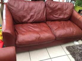 Sofa three seater and chair ox blood red leather