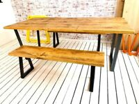 Metal Industrial Extending Dining Table / Bench Sets with Tapered Frame - Any RAL Colour