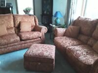 4 piece suite with 2 x 3 seater setees (1 with pull down double bed) 1 armchair and 1 footstool