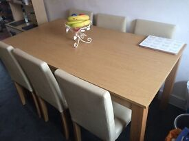 6 seat oak & cream dining table and chairs