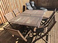 Hardwood folding table and chairs