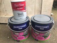 Three tins of unopened paint