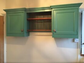 Vintage Kitchen Wall Unit (with cupboards and built in plate rack)