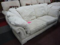 White/Cream Cotton Suite with White Floral Pattern 2 + 3 seater