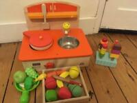 Mini wooden kitchen with a range of accessories