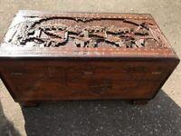 Oriental Carved Camphor Trunk - Freestanding - Chest - Storage - Ornate