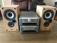 DENON cd radio text stereo and speakers
