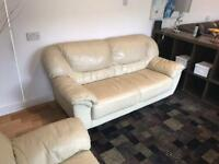 Free to a good home cream leather 3 seater and 2 seater sofa