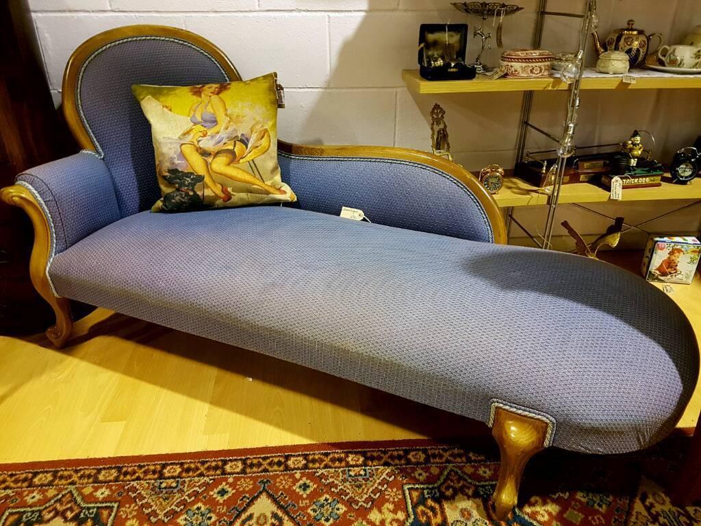 Antique Style Vintage Chaise Longue Azure Blue Excellent Condition Window Seat