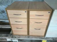 BEECH OFFICE PEDESTALS. 3 AVAILABLE. FREE FAST DELIVERY