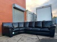 Absolutely stunning Black leather corner sofa delivery 🚚 sofa suite couch furniture