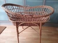 Vtg wicker moses crib basket with stand