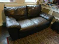 Leather 2 seater sofa brown FREE
