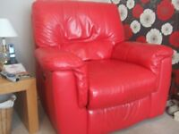 Reclining Leather Arm Chair Red