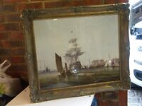 LARGE ANTIQUE PRINT OF A GALLEON IN THE HARBOUR