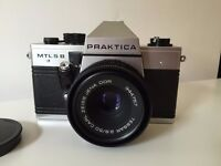 Like-New 35mm PRAKTICA MTL5 B, with Carl Zeiss 2.8/50 lens, case, and film!