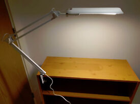 Adjustable swing arm drafting desk lamp with clamp base - energy-saving light bulb included