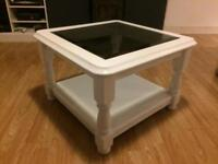 Coffee table - white and glass