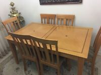 Oak Wood Dining Table with 6 Dining Chairs