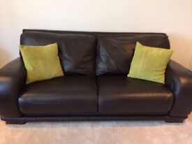3 Seater Leather Dark Brown Sofas in Excellent Condition