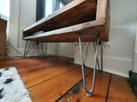 Industrial TV stand with hairpin legs