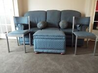 Sofa 3 seaterwith heravh duty patterned fabric in shade of blue