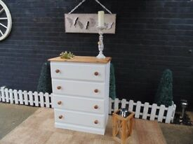 SOLID PINE CHEST OF DRAWERS PAINTED WITH LAURA ASHLEY PALE DOVE THIS SET HAS BEEN WAXED