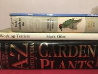 Books on plants, birds and border terrier dogs
