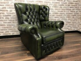 UK DEL - Antique Green Chesterfield Spoon Chair