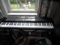 Roland ep.7e piano keyboard in good condition, stand, foot pedal and very strong travel case