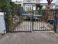 2 black wrought iron gates Approx 265cms wide. GATE METAL DIAMOND design