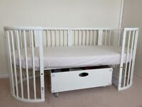 STOKKE SLEEPI Cot/crib , Bed & Junior bed extensions, Drape rod and drawer