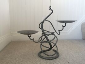 Hand Made metal double candle stick