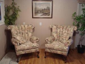 Lovely Matching Pair of Wingback's