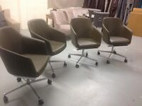 4 high quality leather tub chairs on four star aluminium bases